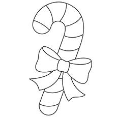 Candy Cane с лентой орнамента шаблон раскраски