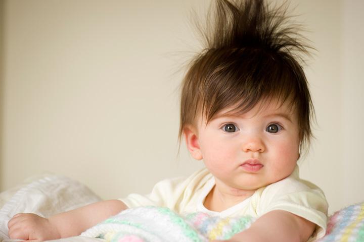 Фотографии детей, рожденных с пышными волосами