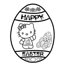 Hello kitty на странице раскраски пасхальных яиц