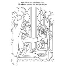 Раскраска Frozen Anna, влюбленная в раскраски Ганса